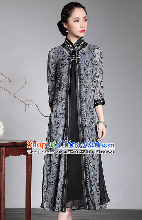 Traditional Chinese National Costume Plated Buttons Long Qipao Grey Coat, Top Grade Tang Suit Stand Collar Dust Coat for Women