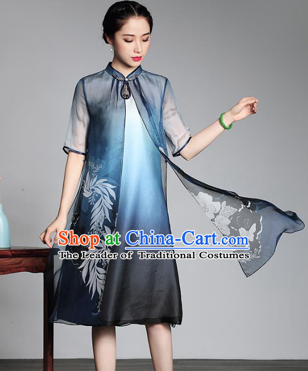Traditional Chinese National Costume Plated Buttons Blue Silk Qipao Dress, Top Grade Tang Suit Stand Collar Printing Cheongsam for Women
