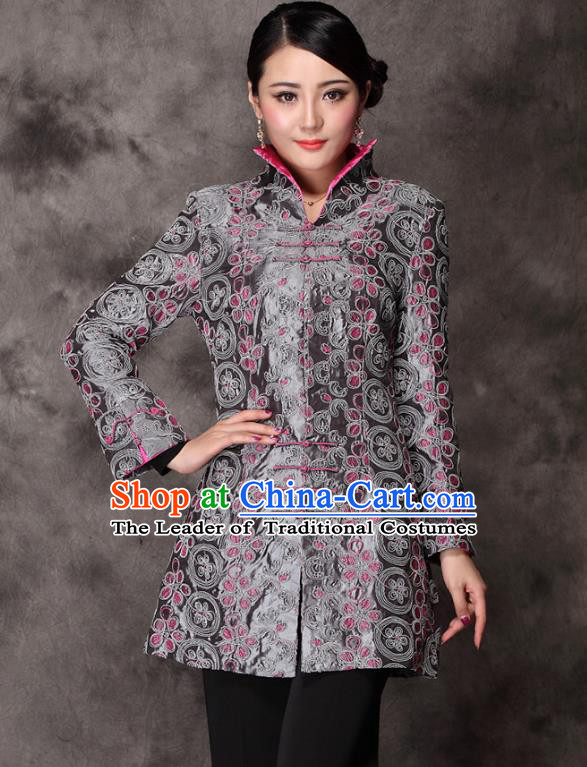Traditional Chinese National Costume Plated Buttons Lilac Silk Qipao Jacket, Top Grade Tang Suit Stand Collar Cheongsam Coats for Women
