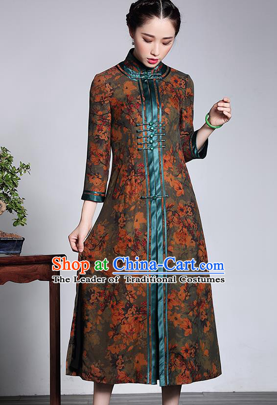 Traditional Ancient Chinese Young Lady Plated Buttons Long Cheongsam Coats, Asian Republic of China Qipao Tang Suit Dust Coat for Women