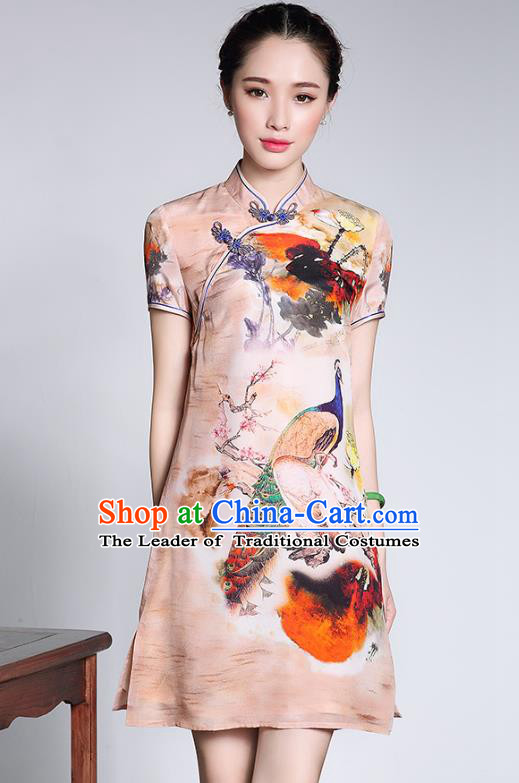 Traditional Ancient Chinese Young Lady Retro Cheongsam Printing Peacock Silk Dress, Asian Republic of China Qipao Tang Suit Clothing for Women