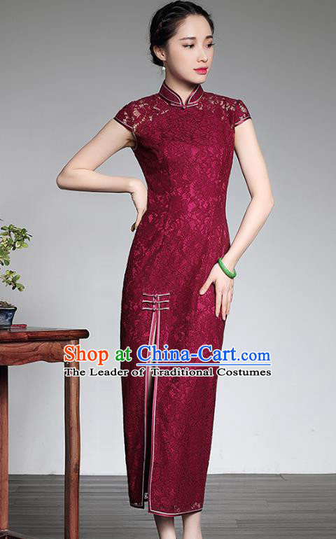 Traditional Ancient Chinese Young Lady Retro Cheongsam Wine Red Lace Dress, Asian Republic of China Qipao Tang Suit Clothing for Women