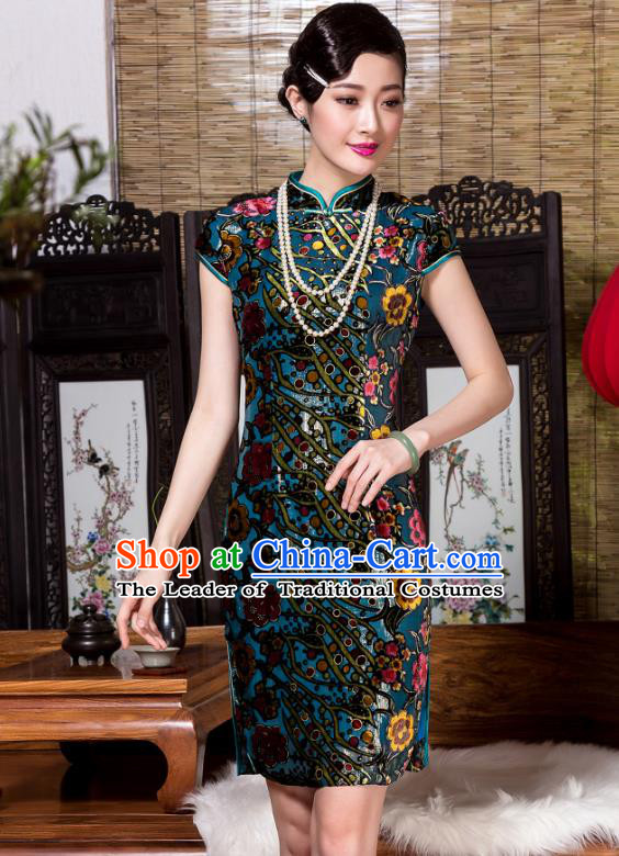 Traditional Chinese National Costume Plated Buttons Qipao, China Tang Suit Chirpaur Top Grade Green Velvet Cheongsam for Women