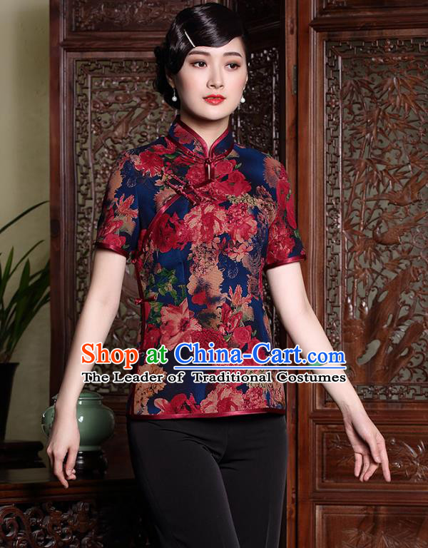 Traditional Chinese National Costume Plated Buttons Qipao Upper Outer Garment, Top Grade Tang Suit Stand Collar Cheongsam Blouse for Women