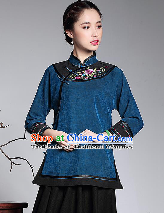 Traditional Chinese National Costume Plated Buttons Qipao Upper Outer Garment Blue Shirts, Top Grade Tang Suit Stand Collar Cheongsam Blouse for Women