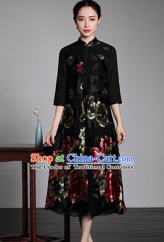 Traditional Chinese National Costume Plated Buttons Qipao Velvet Dress, Top Grade Tang Suit Stand Collar Cheongsam for Women