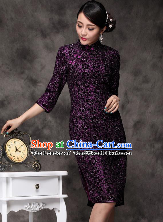 Traditional Chinese National Costume Plated Buttons Purple Qipao Dress, Top Grade Tang Suit Stand Collar Cheongsam for Women
