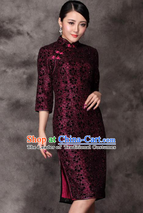Traditional Chinese National Costume Plated Buttons Rosy Qipao Dress, Top Grade Tang Suit Stand Collar Cheongsam for Women