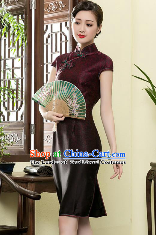 Traditional Chinese National Costume Plated Buttons Qipao, China Tang Suit Chirpaur Top Grade Silk Short Cheongsam for Women