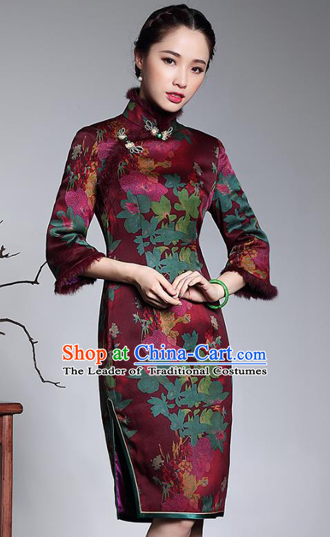 Traditional Chinese National Costume Plated Buttons Watered Gauze Qipao Dress, Top Grade Tang Suit Stand Collar Cheongsam for Women