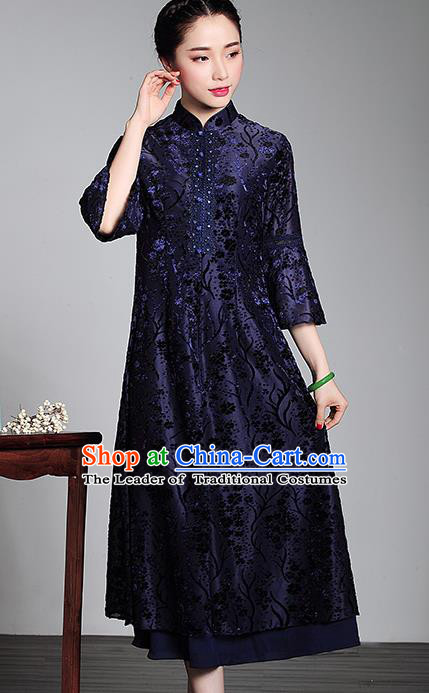 Traditional Chinese National Costume Plated Buttons Qipao Blue Velvet Dress, Top Grade Tang Suit Stand Collar Cheongsam for Women