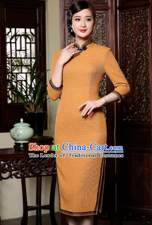 Traditional Chinese National Costume Plated Buttons Qipao Dress, Top Grade Wool Tang Suit Cheongsam for Women