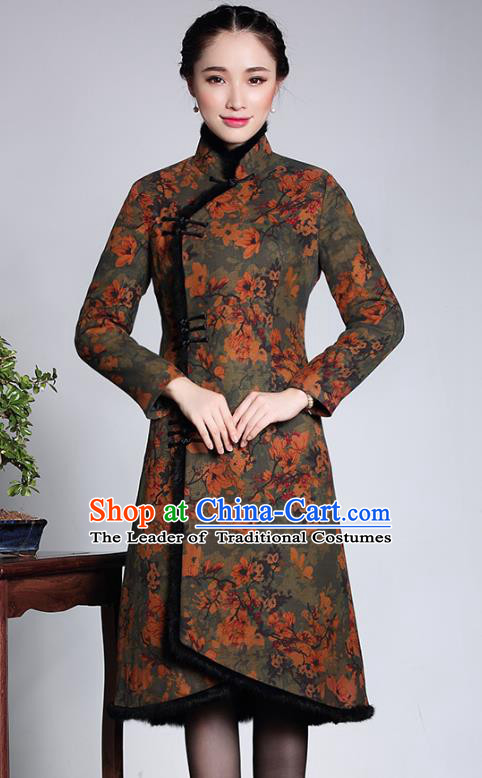Traditional Chinese National Costume Cotton-padded Qipao Dress, Top Grade Tang Suit Stand Collar Cheongsam for Women