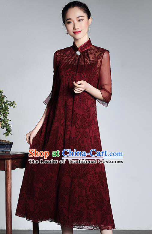 Traditional Chinese National Costume Wine Red Silk Qipao Dress, Top Grade Tang Suit Stand Collar Cheongsam for Women
