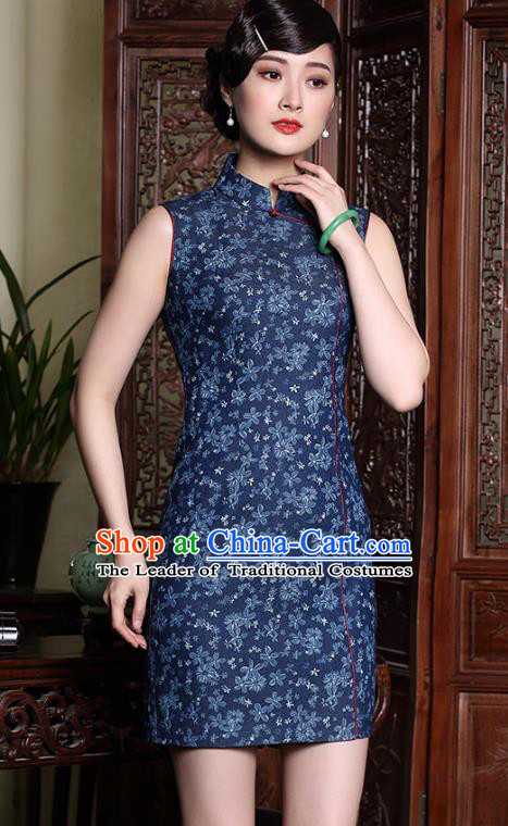 Traditional Chinese National Costume Blue Linen Qipao Dress, Top Grade Tang Suit Stand Collar Cheongsam for Women