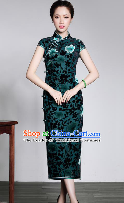 Traditional Chinese National Costume Qipao Green Velvet Dress, Top Grade Tang Suit Stand Collar Cheongsam for Women