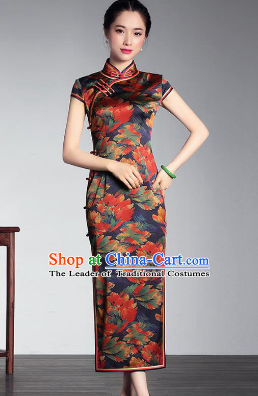 Traditional Chinese National Costume Long Qipao Satin Dress, Top Grade Tang Suit Stand Collar Cheongsam for Women