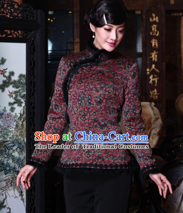 Traditional Chinese National Costume Qipao Upper Outer Garment Blouse, Top Grade Tang Suit Stand Collar Cheongsam Cotton-padded Coats for Women