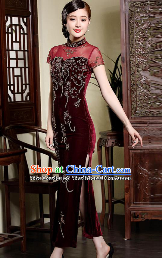 Traditional Chinese National Costume Red Velvet Qipao, Top Grade Tang Suit Stand Collar Cheongsam Dress for Women