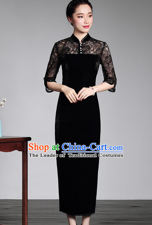 Traditional Chinese National Costume Black Lace Velvet Qipao, Top Grade Tang Suit Stand Collar Cheongsam Dress for Women