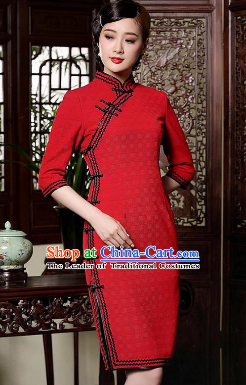 Traditional Chinese National Costume Qipao Red Wool Dress, Top Grade Tang Suit Stand Collar Cheongsam for Women