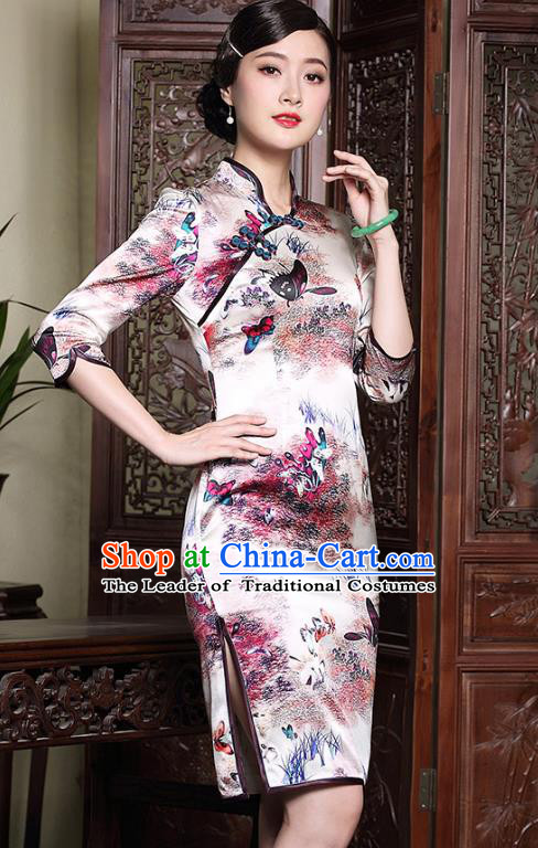 Traditional Chinese National Costume Printing Silk Qipao, Top Grade Tang Suit Stand Collar Cheongsam Dress for Women