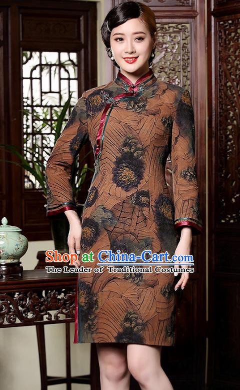 Traditional Chinese National Costume Printing Brown Silk Qipao, Top Grade Tang Suit Stand Collar Cheongsam Dress for Women