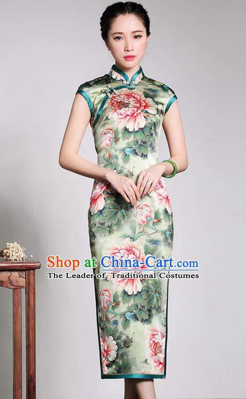 Traditional Chinese National Costume Printing Peony Green Silk Qipao, Top Grade Tang Suit Stand Collar Cheongsam Dress for Women