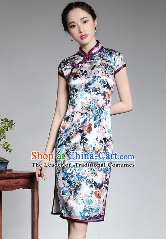 Traditional Chinese National Costume Printing Silk Short Qipao, Top Grade Tang Suit Stand Collar Cheongsam Dress for Women