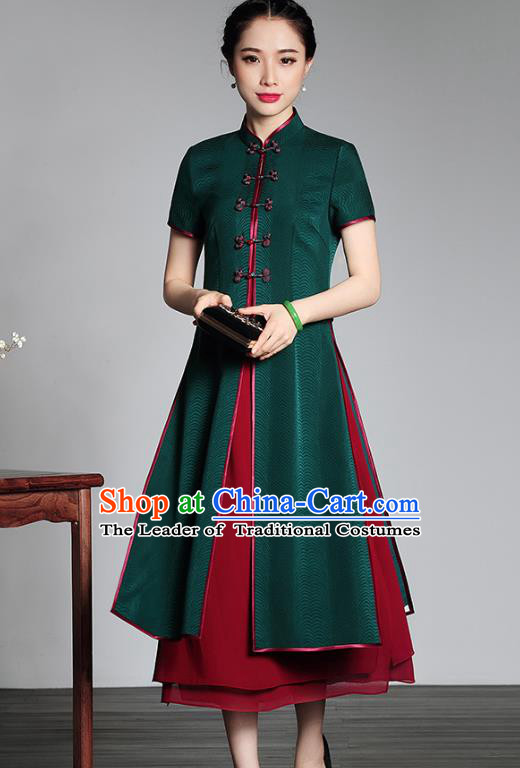 Traditional Chinese National Costume Green Silk Qipao and Dust Coat, Top Grade Tang Suit Stand Collar Cheongsam Dress for Women