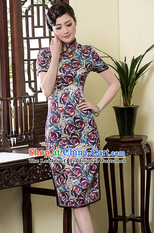 Traditional Ancient Chinese Young Lady Printing Cheongsam, Republic of China Stand Collar Qipao Dress Tang Suit Clothing for Women