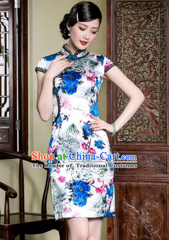 Traditional Ancient Chinese Young Lady Printing Flowers Silk Cheongsam, Republic of China Stand Collar Qipao Dress Tang Suit Clothing for Women