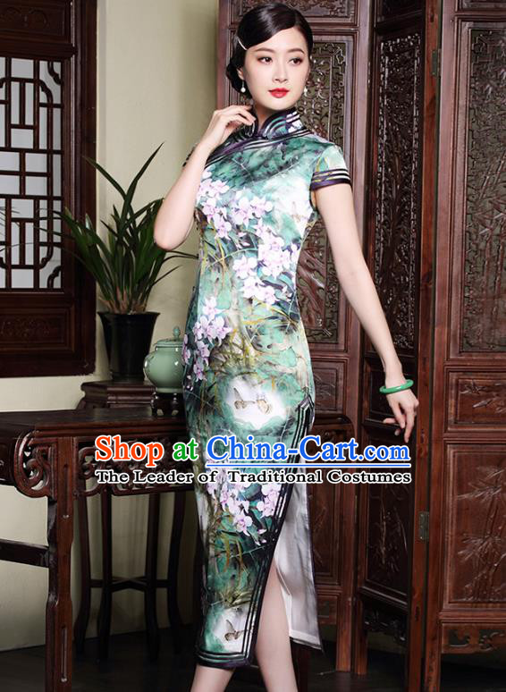 Traditional Ancient Chinese Young Lady Printing Flowers Green Silk Cheongsam, Republic of China Stand Collar Qipao Dress Tang Suit Clothing for Women