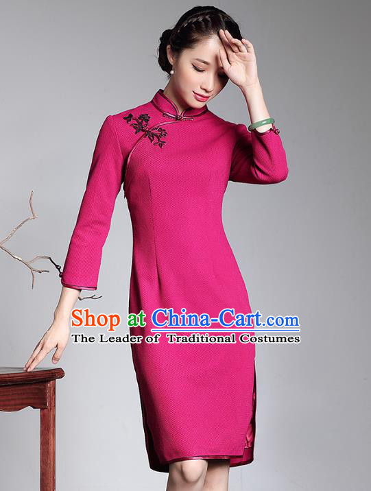 Traditional Chinese National Costume Qipao Rosy Wool Dress, Top Grade Tang Suit Stand Collar Cheongsam for Women