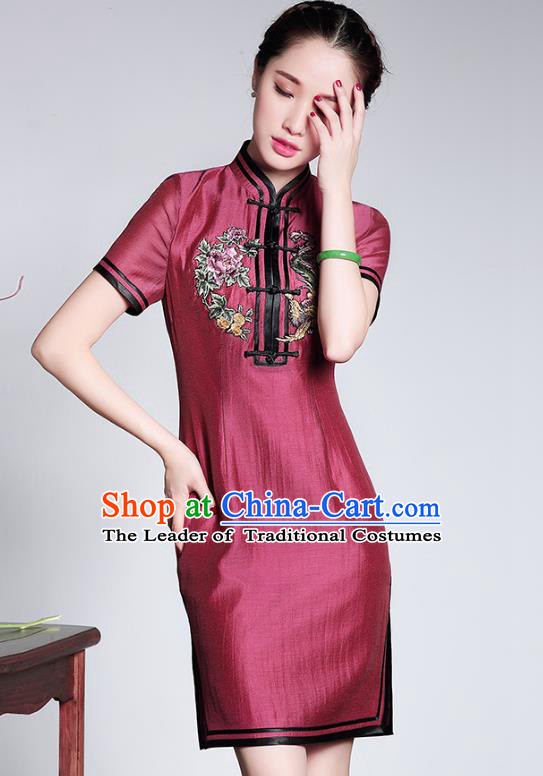 Traditional Ancient Chinese Young Lady Silk Embroidery Cheongsam, Republic of China Stand Collar Qipao Dress Tang Suit Clothing for Women