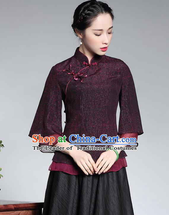 Traditional Ancient Chinese Young Lady Cheongsam Upper Outer Garment, Republic of China Stand Collar Qipao Shirts Tang Suit Blouse for Women
