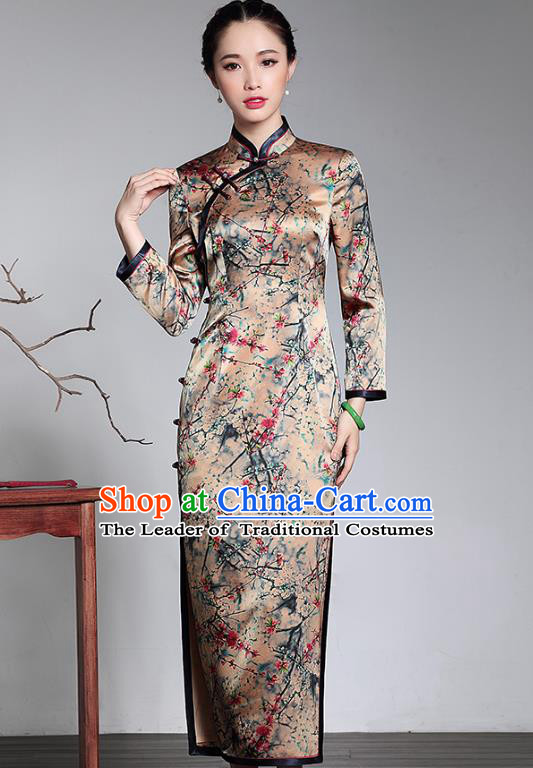 Traditional Ancient Chinese Young Lady Printing Silk Cheongsam, Republic of China Stand Collar Qipao Tang Suit Dress for Women