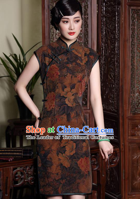 Traditional Ancient Chinese Young Lady Printing Brown Silk Cheongsam, Republic of China Stand Collar Qipao Tang Suit Dress for Women