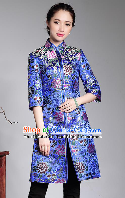 Traditional Chinese National Costume Blue Brocade Coats, Top Grade Tang Suit Stand Collar Cheongsam Dust Coat for Women
