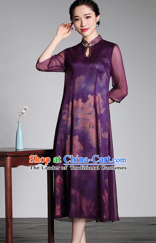 Traditional Ancient Chinese Young Lady Printing Purple Silk Cheongsam, Republic of China Stand Collar Qipao Tang Suit Dress for Women