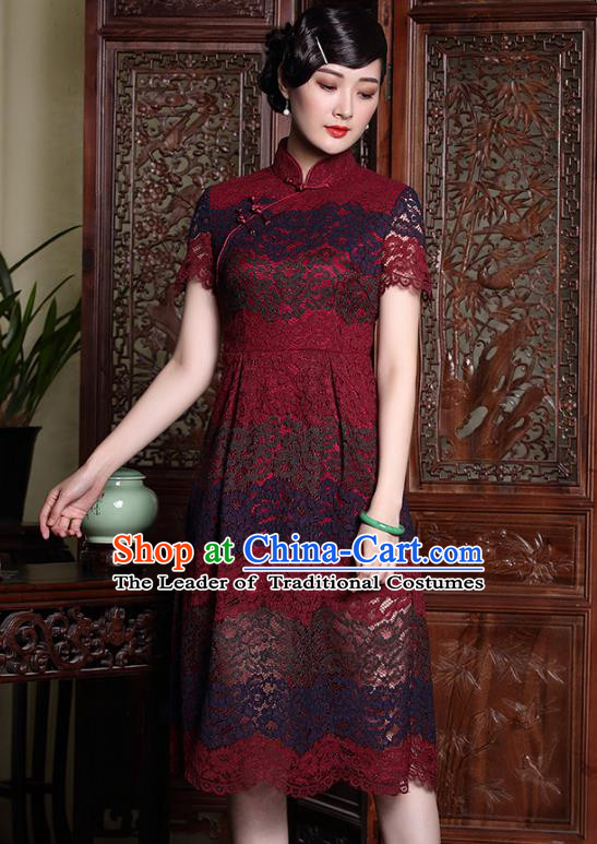 Traditional Chinese National Costume Red Lace Qipao Dress, Top Grade Tang Suit Stand Collar Cheongsam for Women
