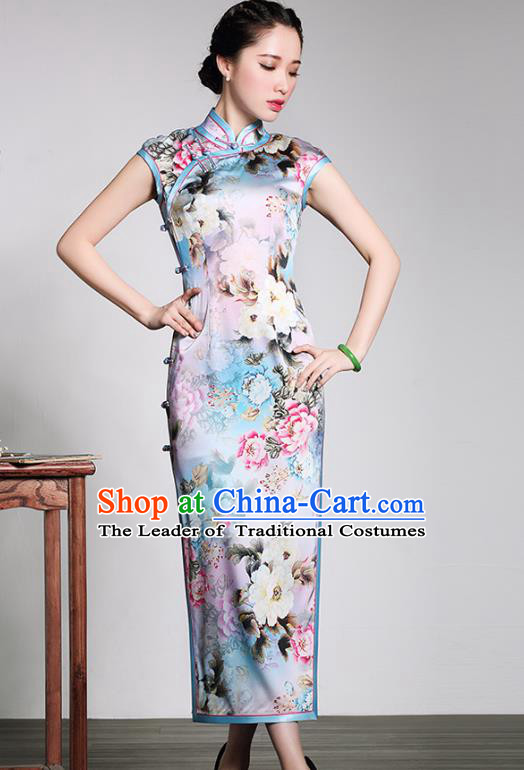 Traditional Chinese National Costume Long Qipao Printing Silk Dress, Top Grade Tang Suit Stand Collar Cheongsam for Women