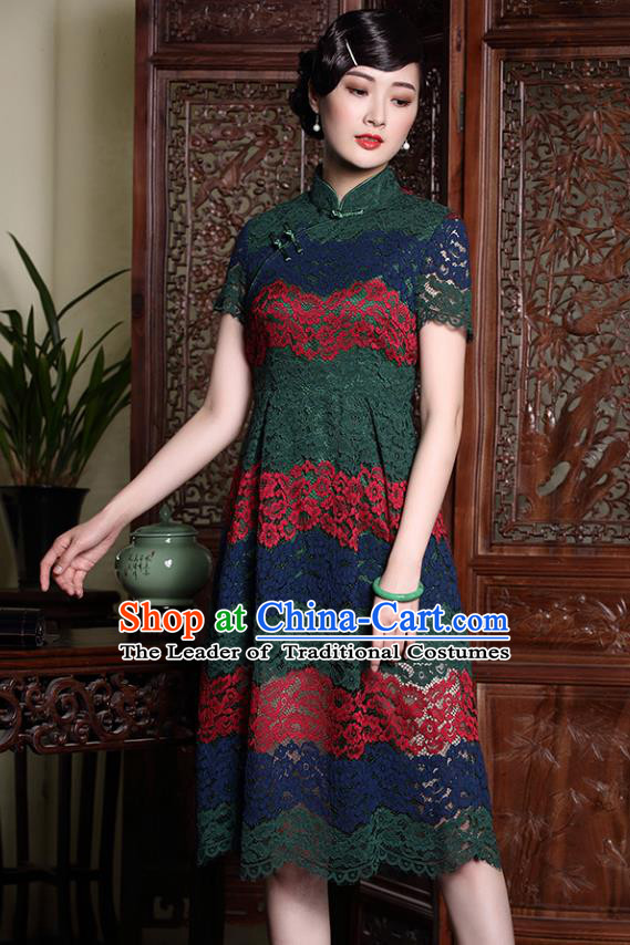 Traditional Chinese National Costume Green Lace Qipao Dress, Top Grade Tang Suit Stand Collar Cheongsam for Women