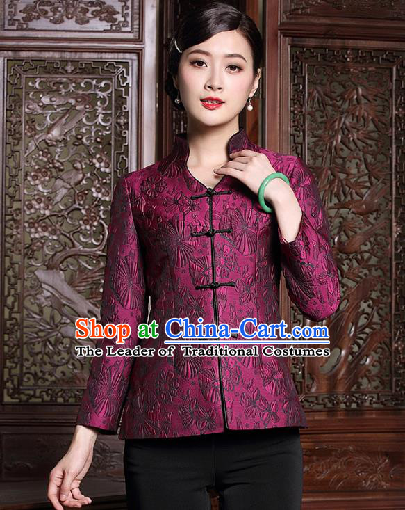 Traditional Ancient Chinese Young Lady Purple Cheongsam Coat, Republic of China Stand Collar Jacket Tang Suit Clothing for Women