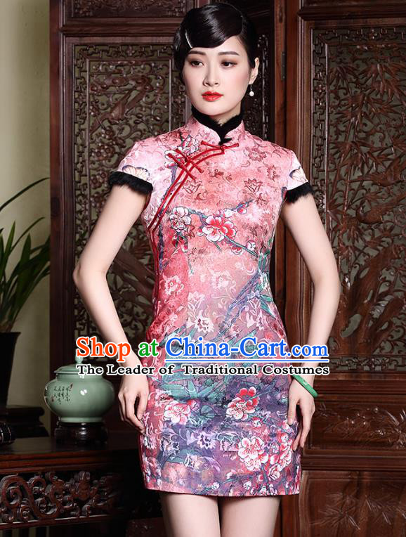 Traditional Ancient Chinese Young Lady Pink Silk Printing Cheongsam, Republic of China Stand Collar Qipao Tang Suit Dress for Women