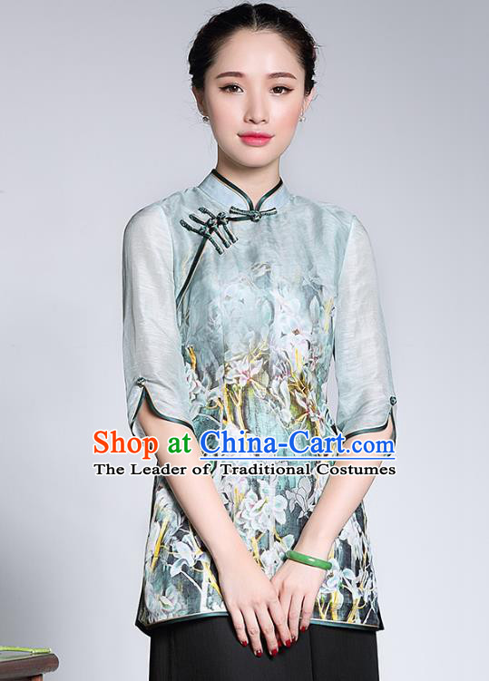 Traditional Ancient Chinese Young Lady Green Silk Printing Cheongsam Blouse, Republic of China Stand Collar Qipao Tang Suit Upper Outer Garment for Women