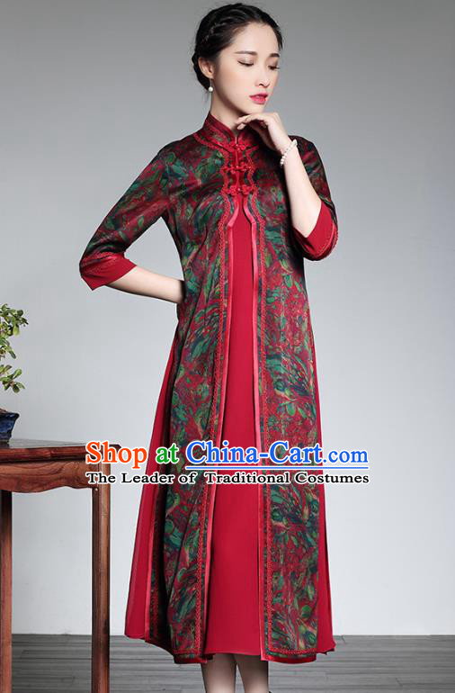 Traditional Ancient Chinese Young Lady Red Silk Printing Two-piece Cheongsam, Republic of China Stand Collar Qipao Tang Suit Dress for Women