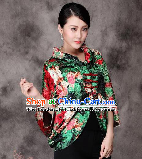 Traditional Ancient Chinese Young Lady Green Silk Cheongsam Jacket, Republic of China Qipao Tang Suit Plated Buttons Coat for Women