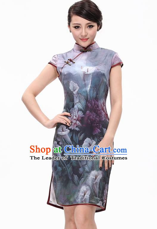 Traditional Ancient Chinese Young Lady Printing Daffodil Silk Cheongsam, Republic of China Qipao Tang Suit Dress for Women