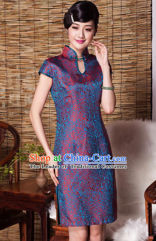 Traditional Ancient Chinese Young Lady Red Silk Cheongsam, Republic of China Qipao Tang Suit Dress for Women